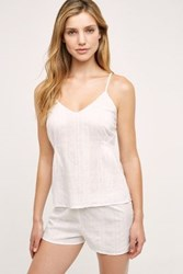 Anthropologie Shadow Plaid Camisole White