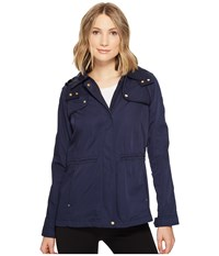 Vince Camuto Hooded Lightweight Parka With Drawstring Waist Navy Women's Coat