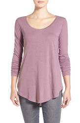 Junior Women's Bp. Scoop Neck Long Sleeve Tee Purple Grapeade