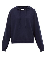 Allude Hooded Wool Blend Sweater Navy