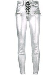 Unravel Project Metallic Grey Skinny Leather Pants