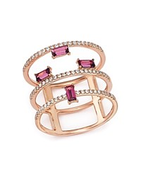Bloomingdale's Diamond And Garnet Triple Band Ring In 14K Rose Gold White Pink