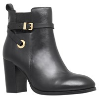 Carvela Stacey Buckle Strap Ankle Boots Black Leather