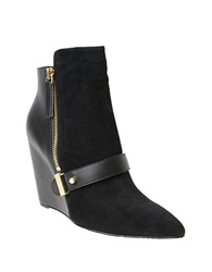 William Rast Avery Suede Wedge Booties Black