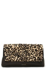 Louise Et Cie Aisa Genuine Calf Hair Clutch Brown Leopard