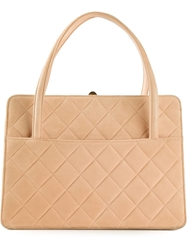 Chanel Vintage Quilted Tote Nude And Neutrals