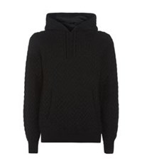 Dolce And Gabbana Cable Knit Wool Hoodie Black