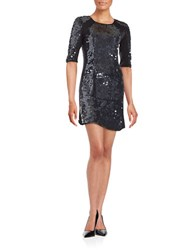 M By Mac Duggal Sequin Shift Dress Black Gunmetal