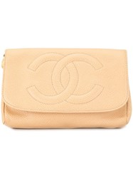 Chanel Vintage Cosmetic Pouch Bag Brown