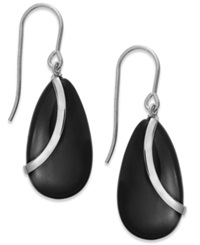 Macy's Onyx Overlay Drop Earrings In Sterling Silver 10 1 3 Ct. T.W.