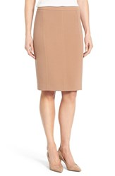 Halogenr Petite Women's Halogen Seamed Pencil Skirt Dark Camel