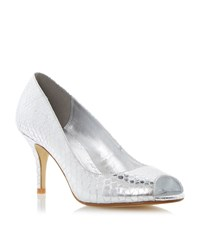 Untold Distalies Peep Toe Court Shoes Silver