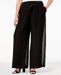 Ny Collection Plus Size Sheer Overlay Palazzo Pants Black