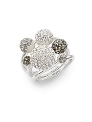Judith Jack Clustered Stone And Sterling Silver Ring Set Crystal