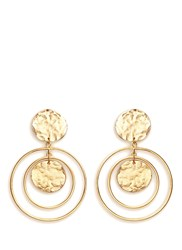 Kenneth Jay Lane Coin Charm Hoop Gold Plated Drop Earrings Metallic