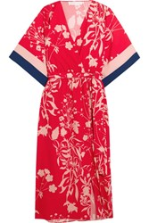 Borgo De Nor Raquel Floral Print Crepe Chine Midi Dress Red