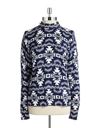 Joseph A Printed Turtleneck Navy