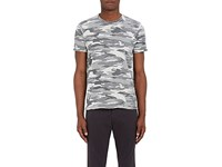 Barneys New York Men's Camouflage Cotton T Shirt Grey