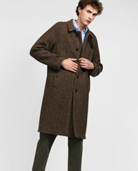 Aspesi Macro Herringbone Wool Coat Perturbato Beige Brown