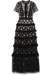 Needle And Thread Lace Trimmed Ruffled Embroidered Tulle Gown Black