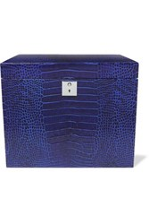 Smythson Mara Croc Effect Leather Jewelry Box Cobalt Blue
