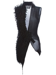 Lost And Found Faux Fur Detail Knitted Gilet Black