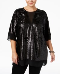 Melissa Mccarthy Seven7 Trendy Plus Size Sequin Top Black
