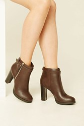 Forever 21 Faux Leather Ankle Booties Brown