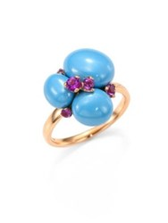Pomellato Amethyst Ceramic And 18K Rose Gold Ring Blue Amethyst