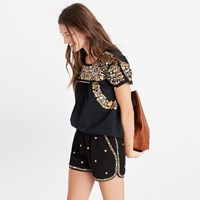 Madewell Embroidered Springtime Pull On Shorts True Black