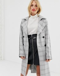 Pieces Check Double Breasted Trench Coat Multi