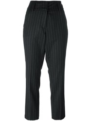 Dondup Pinstripe Cropped Trousers Grey