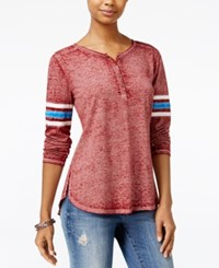 Hippie Rose Juniors' Henley Football T Shirt Garnet Combo
