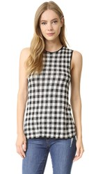 Jenni Kayne Gingham Sleeveless Sweater Black White