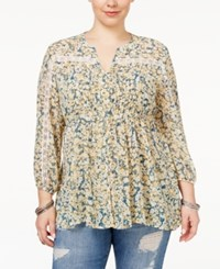 American Rag Trendy Plus Size Tie Waist Peasant Blouse Only At Macy's Chamois Cmbo