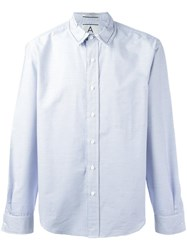 Andrea Pompilio Striped Button Down Shirt Blue
