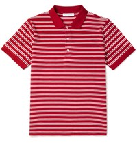 Sandro Slim Fit Striped Cotton Jersey Polo Shirt Red