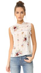 Alice Olivia Jonie Lac Combo Sleeveless Blouse Vintage Bouquet Cream