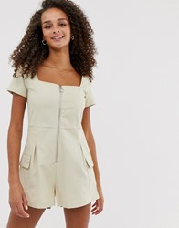Daisy Street Utility Playsuit With Ring Pull Beige