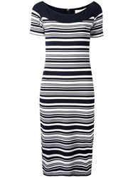 Michael Michael Kors Striped Fitted Dress Blue