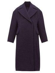 Acne Studios Olalia Double Breasted Wool Blend Coat Navy