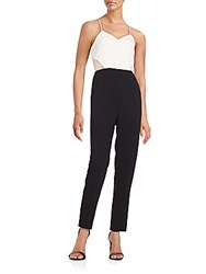Bcbgeneration Lace Trimmed Colorblock Jumpsuit White Black