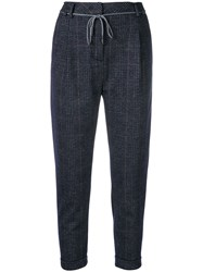 Eleventy Cropped Check Trousers Blue