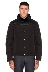 Penfield Rockwool Leather And Shearling Yoke Down Jacket Black