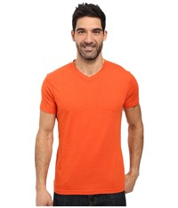 Prana V Neck Tee Cayenne Heather Men's Short Sleeve Pullover Orange