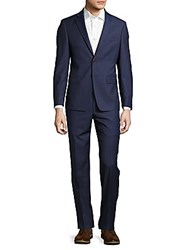 Calvin Klein Extreme Slim Fit Solid Polished Wool Suit Blue