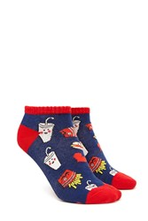 Forever 21 Fast Food Pattern Ankle Socks Navy Red