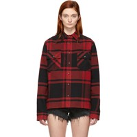 Off White Black And Red Flannel Stencil Shirt