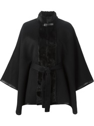 Fendi Fur Trim Cape Black