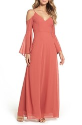 Lulus Women's Cold Shoulder Chiffon Maxi Dress Rusty Rose